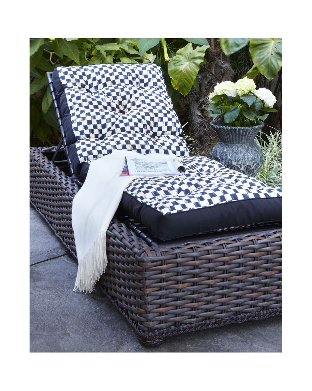 Mackenzie childs courtly check reversible outdoor chaise for Chaise lounge cover pattern