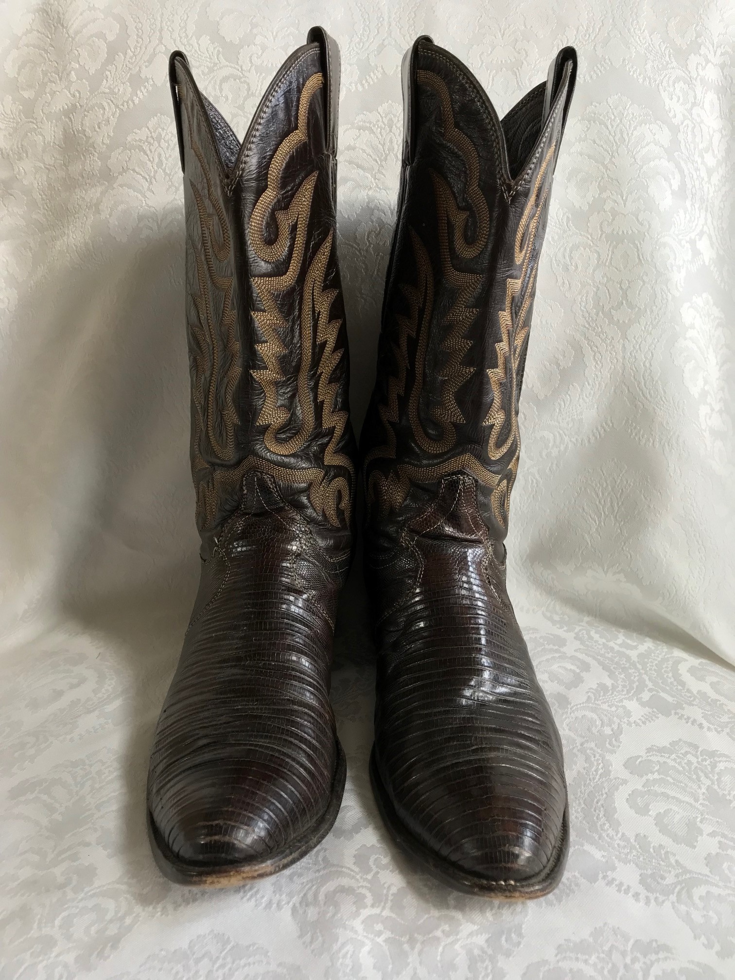 16a39cb6256 Details about Justin Dark Brown Exotic Iguana Lizard Leather Cowboy Roper  Boots 9.5 D